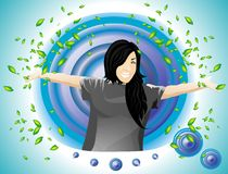 Happy girl. Young girl, black hair, green peace Royalty Free Stock Images