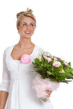 Happy girl. Beautiful happy young girl with pink flower bouquet Royalty Free Stock Images
