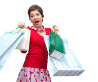 Happy girl. Photo of a happy girl after shopping Royalty Free Stock Photography