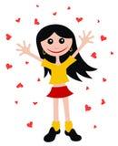Happy girl. Abstract vector illustration of happy girl cartoon style stock illustration