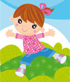 Happy girl. Illustratiorn of happy little girl