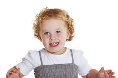 Happy girl. Beautiful little three year old girl on white background Stock Image