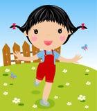 Happy girl. Illustration of nice girl running Stock Image