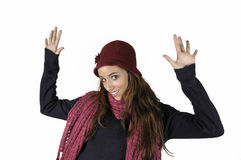 Happy girl. With red wool cap on white background Stock Photography