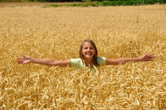 The happy girl. The happy free young girl on a belt in gold ears on a field Royalty Free Stock Photos