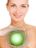 Happy girl. Picture of a Happy girl with a magic apple Stock Photos