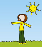 Happy girl. On a bright sunny day stock illustration