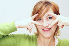 Happy girl. Close up of a pretty woman face stock photo
