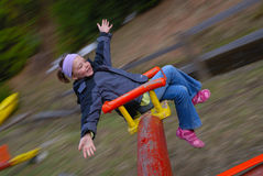 Happy girl. In park with motion blur effect Stock Images