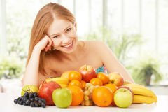 Happy Girl And Healthy Vegetarian Food, Fruit Stock Image