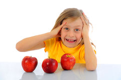 Happy girl with apple Stock Photo