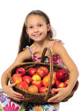 Happy girl with apples Royalty Free Stock Photos