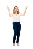 Happy girl with arms raised. Isolated Stock Images