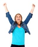 Happy girl with arms up Royalty Free Stock Photography