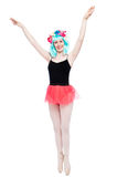 Happy Girl with Arms Up In Ballet Pose. Royalty Free Stock Photos