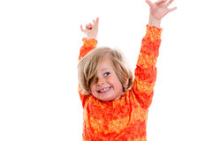 Happy girl with arms up Stock Photography