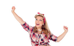 Happy girl with arms up in pinup style Stock Photo