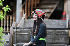 Happy Girl Asian style. In dress native Local Royalty Free Stock Image