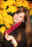 Happy girl in autumn park. Royalty Free Stock Image