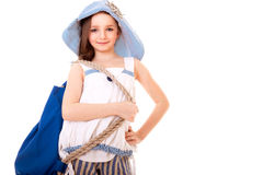 Happy girl with backpack Royalty Free Stock Image