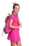 Happy girl with backpack Stock Image