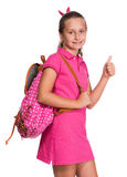 Happy girl with backpack Royalty Free Stock Photo