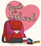 Happy Girl Backpack with Supplies for Back to School, Vector Illustration Stock Image