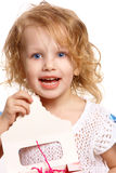Happy girl with a bag. Girl holding an open pack Stock Photography