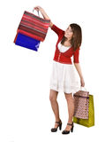 Happy girl with bag shopping. Royalty Free Stock Photos