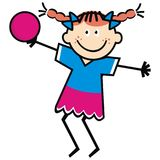Happy girl and ball. Girl with pigtails and bow. Funny illustration. Vector icon. Smile girl. Colored picture Royalty Free Stock Photo