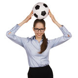 Happy girl with a ball on his head Royalty Free Stock Photography