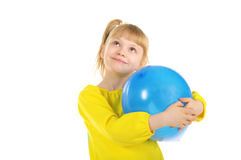 Happy girl with balloon Stock Photography