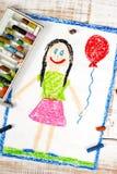 Happy girl with balloon Stock Photos
