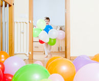 Happy  girl   with balloons Stock Photography