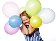 Happy girl with balloons Royalty Free Stock Images
