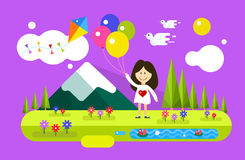 Happy girl with balloons on summer background Royalty Free Stock Images
