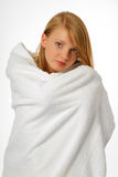 Happy girl in a bath towel Stock Image