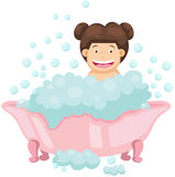 Happy girl in the bathtub royalty free illustration