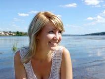 Happy girl on beach Stock Photo