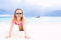 Happy girl on a beach Stock Images