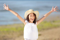 Happy girl in the beach Royalty Free Stock Photos