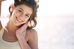 Happy girl on the beach Royalty Free Stock Photo