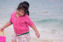 Happy girl on beach royalty free stock image