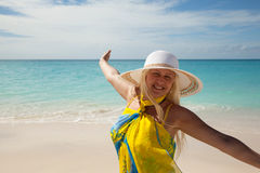 Happy girl on the beach Royalty Free Stock Photos