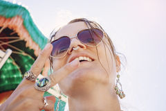Happy girl on the beach Stock Photography