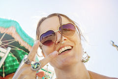 Happy girl on the beach Stock Images
