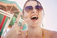 Happy girl on the beach Royalty Free Stock Images