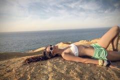 Happy girl at the beach Royalty Free Stock Photo