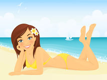 Happy girl on beach vacation Stock Images