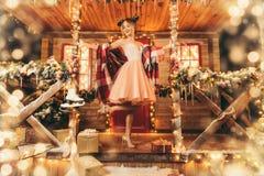 Happy girl in dress stock image